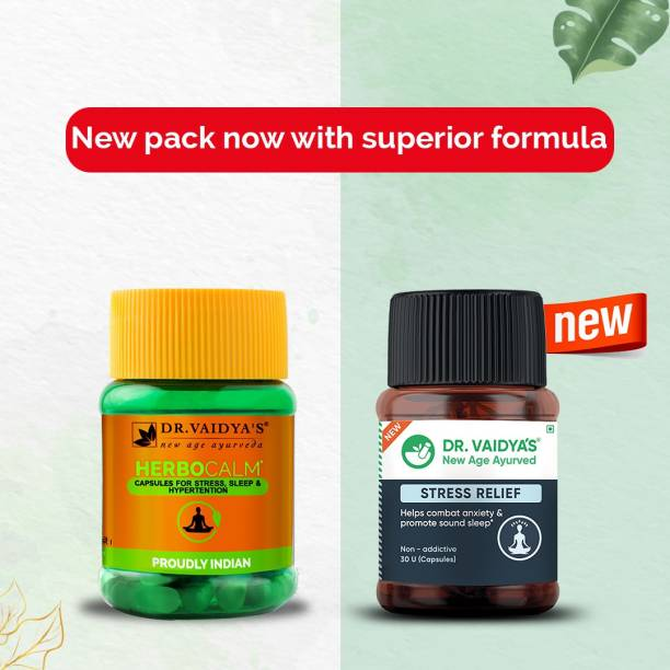 Dr. Vaidya's Herbocalm Capsules Ayurvedic Medicine for Stress and Anxiety - Pack of 2