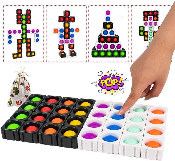 ILASARIYA Push Pop Fidget Toy 32PCS Big Cube Splicing Bubble Toy Creativity Puzzle Fidget Packs Set for Kids Infinite Building Blocks Sensory Toys for Autism Children (MulticolorB-32pcs)
