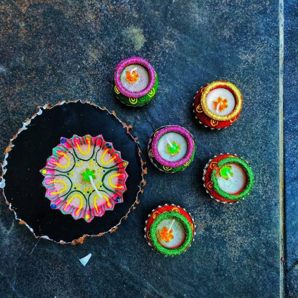 KanthiMala 5+1 Decorative Diya Set Handmade- For Decoration and Gifting Candle