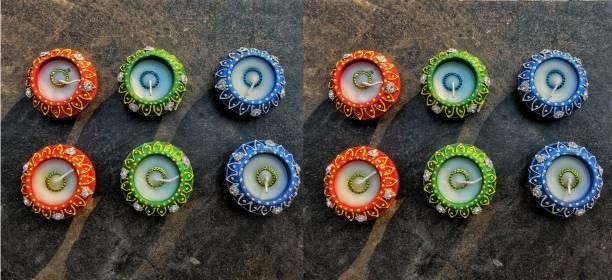 KanthiMala Matki Diya with wax- Pack of 12-- Handmade- For Decoration and Gifting Candle