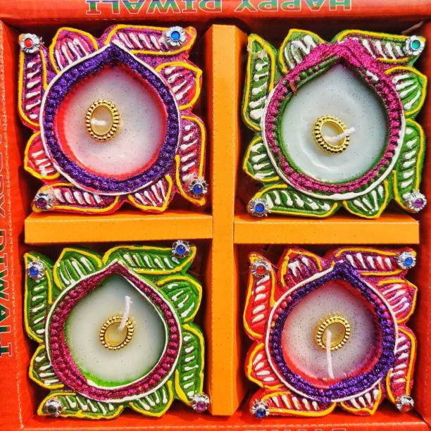 KanthiMala Swastik Decorative Diya with wax- Pack of 4 - Handmade- For Decoration and Gifting Candle