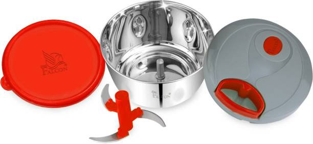 PDDFALCON PDDFALCON Stainless Steel Handy and Compact Chopper with 3 Blades and 6 Flow Breakers for Effortlessly Chopping Vegetables and Fruits for Your Kitchen Vegetable Chopper