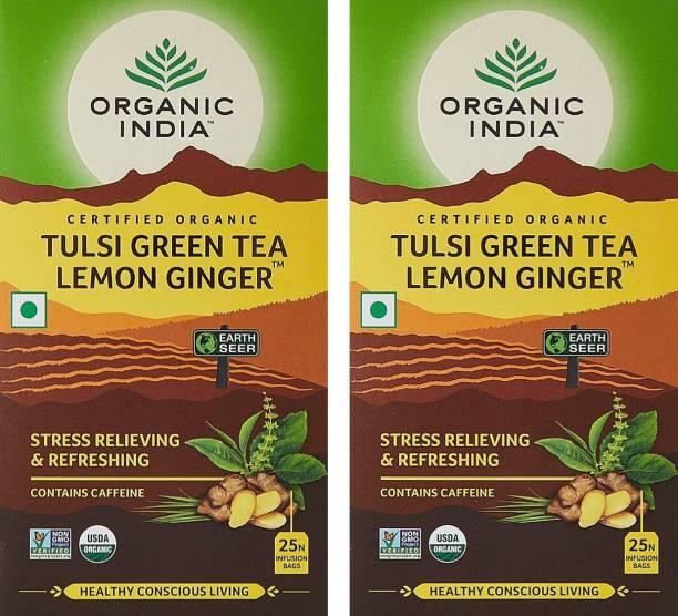 ORGANIC INDIA Tulsi Green Tea Lemon Ginger 25 Tea Bags- (Pack Of 2) Lemon, Ginger Green Tea Box