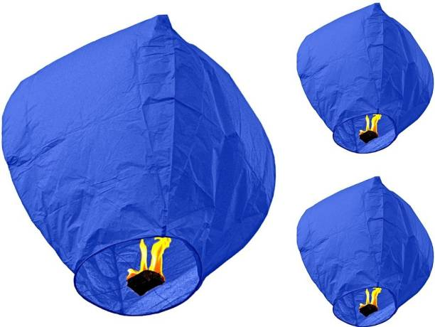 Singh Xpress Exciting Flying Paper Hot Air Balloon With Burning Kit  Combo Of 4  Blue Paper Sky Lantern