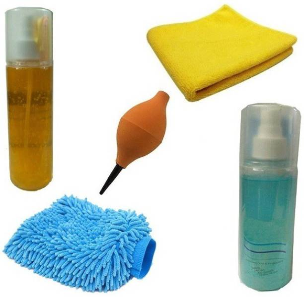 Techvik Set of 5 In 1 LCD Screen Cleaner,Rubber Air blower Cleaner with MicroFiber Clothes And Gloves Combo Set
