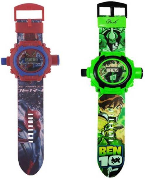 COSMART COMBO SPIDERMAN AND BEN 10 24 IMAGE PROJECTOR WATCH PACK OF - 2