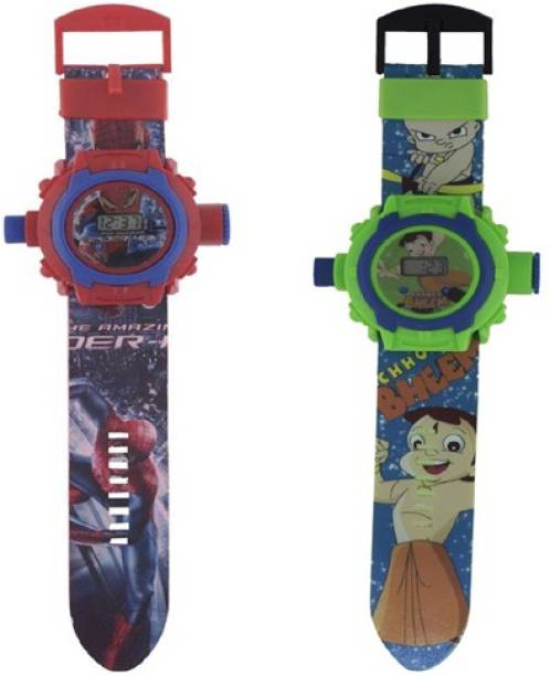COSMART COMBO SPIDERMAN AND CHOTA BHEEM 24 IMAGE PROJECTOR WATCH PACK OF - 2