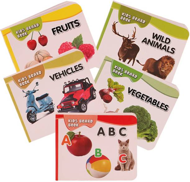 HOMESHOPEEZ Pocket Book Set of Alphabets, Fruits, Vegetable, Animals, Vehicles