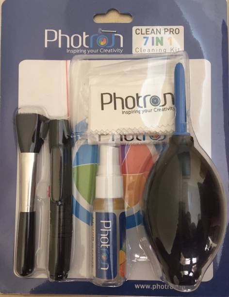 Photron New Professional Clean Pro 7 IN 1 Multi-Purpose Cleaning Kit for Cameras, Lenses, Binoculars, LCD, Laptops, Desktops, Keyboards, etc, Includes Micro-Fibre Cloth, Brush, Liquid Solution, Powerful Dust Blower, Cotton Swabs, Magic lens cleaning pen & Cleaning Tissue  Lens Cleaner
