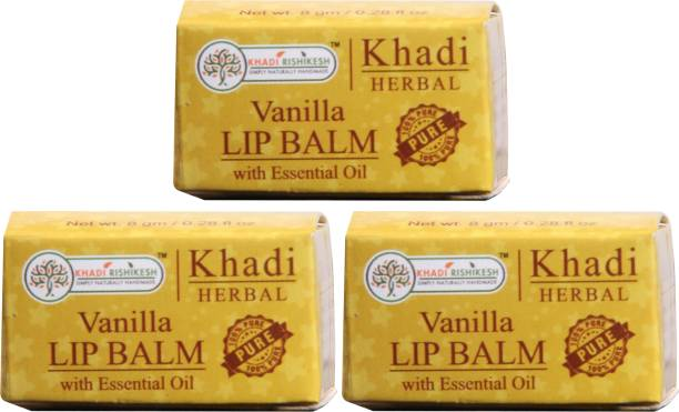 Khadi Rishikesh Herbal Pack of 3 Lip Balm Vanilla