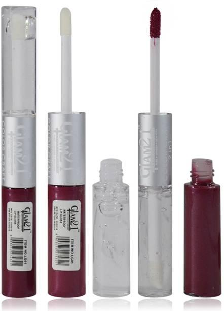 Glam 21 2in1 Longlasting Waterproof Purple Lip Gloss Pack of 1