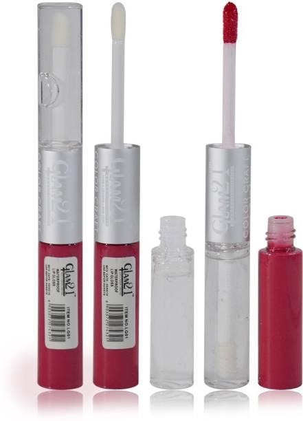 Glam 21 2in1 Longlasting Waterproof Pink Lip Gloss Pack of 1