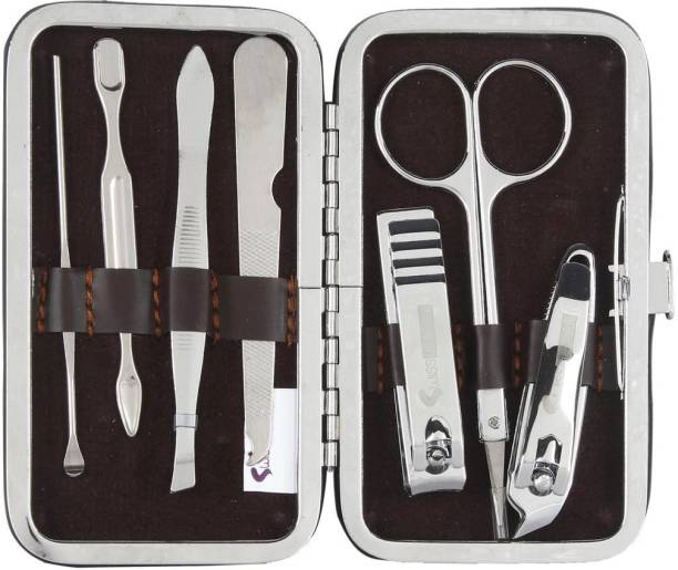 dns Maniure and Pedicure Non-Leather 7 In 1 Stainless Steel Travel & Grooming Kit