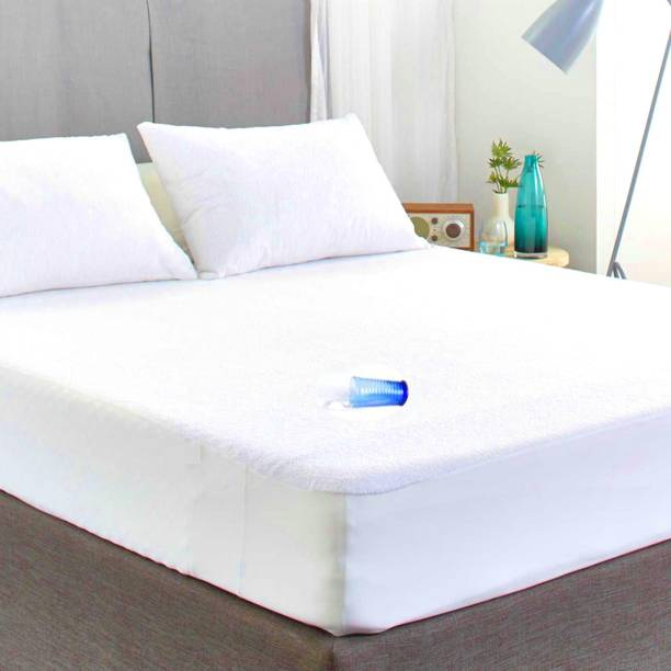 """Sleep Matic Waterproof 78""""x72"""" cotton fitted king size mattress protector white"""
