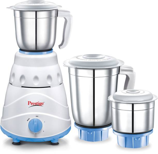 Prestige Atlas 550 W Mixer Grinder (3 Jars, white and Blue)