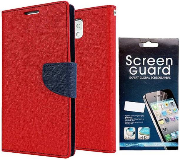Coverage Coverage Flip cover with Screen Guard for Samsung Galaxy S Duos S7562 Red Accessory Combo