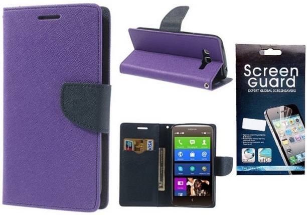 Coverage Coverage Flip cover with Screen Guard for Samsung Galaxy S Duos S7562 Purple Accessory Combo