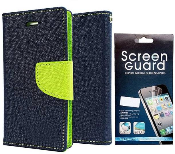 Coverage Coverage Flip cover with Screen Guard for Samsung Galaxy S Duos S7562 Blue:Green Accessory Combo