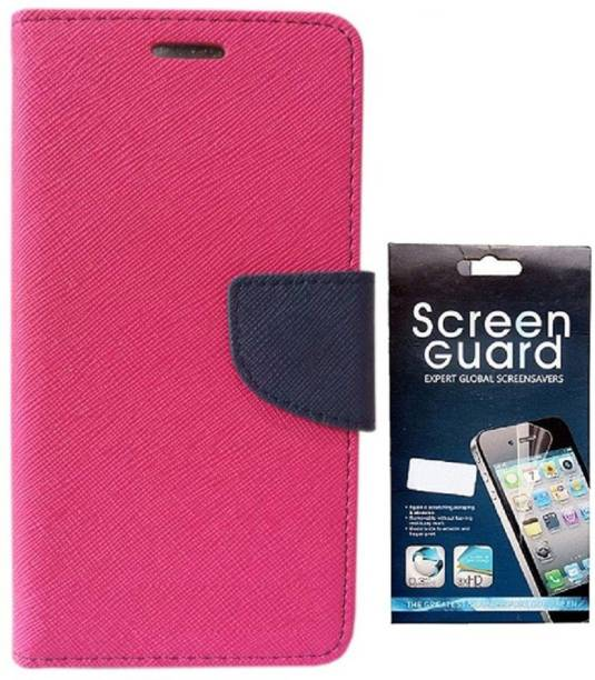Coverage Coverage Flip cover with Screen Guard for Samsung Galaxy S Duos S7562 Pink::Blue Accessory Combo