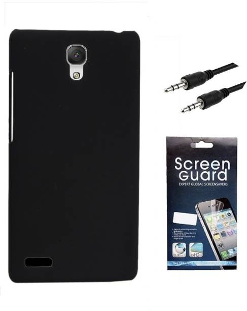 RDcase Back Cover, Screen Protector and 3.5 MM Auxiliary Cable For Micromax Canvas Xpress 2 E313 Accessory Combo