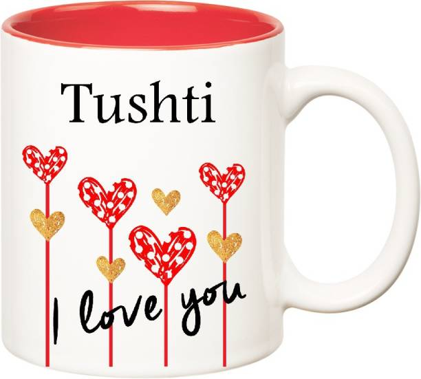 HUPPME I Love You Tushti Inner Red (350 ml) Ceramic Coffee Mug