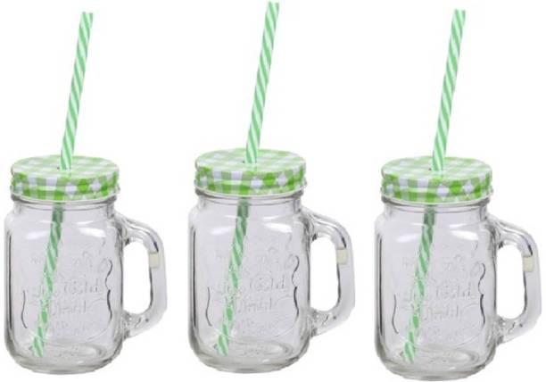 Antwortz Traders Mason Jars (Set of 3) - Green Glass Mason Jar