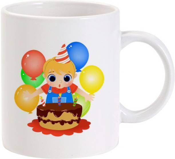 Lolprint Birthday Boy Cake Balloons Ceramic Coffee Mug