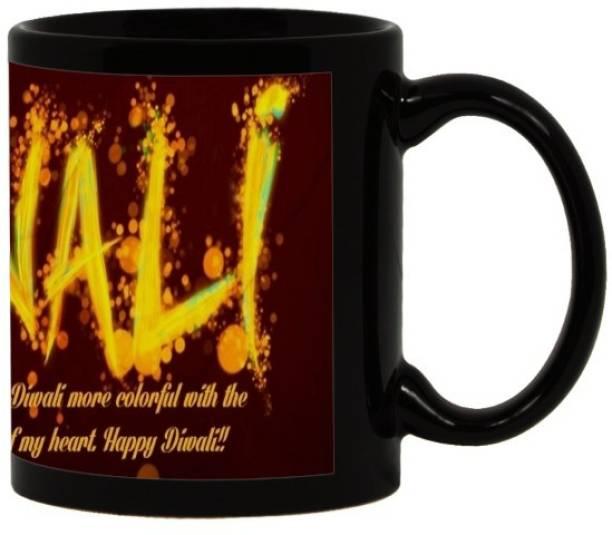 Lolprint 77 Diwali Gift Black Ceramic Coffee Mug