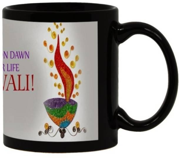 Lolprint 121 Diwali Gift Black Ceramic Coffee Mug