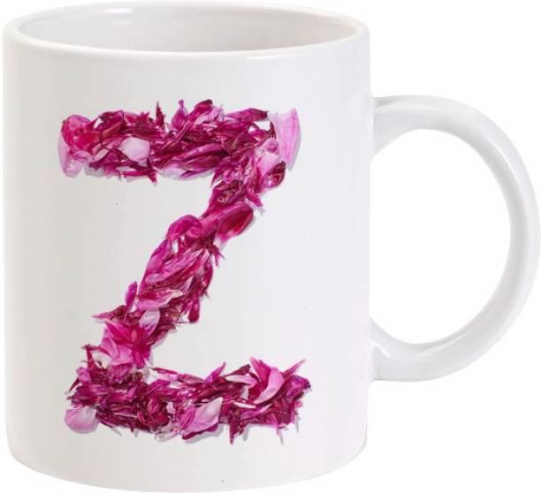 Lolprint Z Flower Alphabet Letter Name Ceramic Coffee Mug
