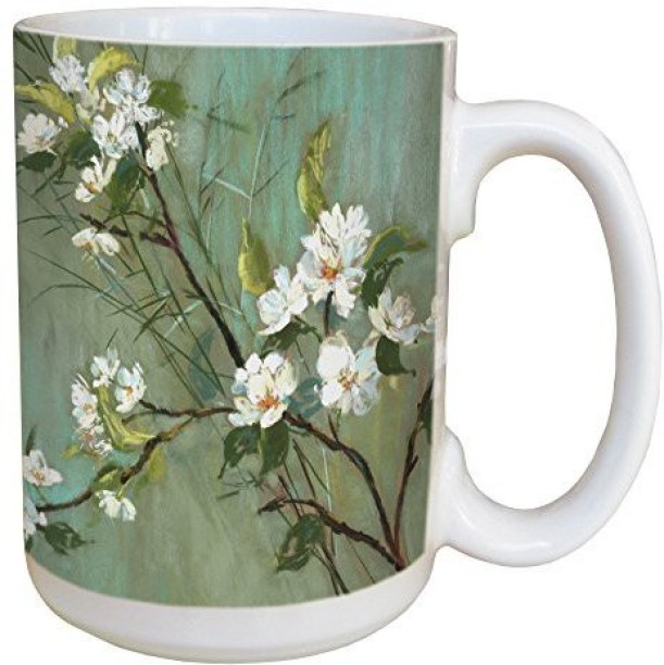 15-Ounce Tree-Free Greetings lm43477 Coastal Summer Shells by Robin Pickens Ceramic Mug with Full-Sized Handle
