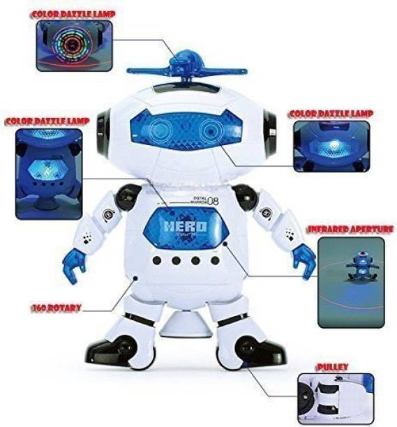 Zest 4 Toyz Electric Smart Space Walking Dancing Robot With Music 3D Lights 360
