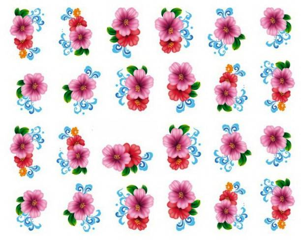 SENECIO™ Hibiscus Multicolor Floral Nail Art Manicure Decals Water Transfer Stickers 1 Sheet