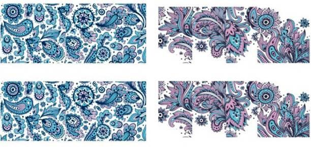 SENECIO™ 2 Patterns Turquoise Blue Pink Blooming Water Transfer Nail Art Decal Sticker