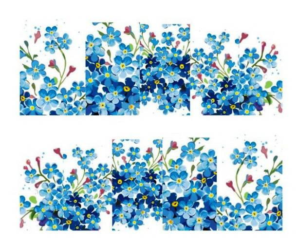 SENECIO™ Blue Cherry Blossom French Nail Art Manicure Decals Water Transfer Stickers 1 Sheet