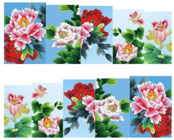 SENECIO™ Peony Multicolor Full Wraps Nail Art Manicure Decals Water Transfer Stickers 1 Sheet