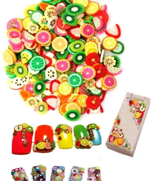 SENECIO™ 100Pcs Mix Colors 3D Clay Varient Designs Nail Art Slice Tips Decoration