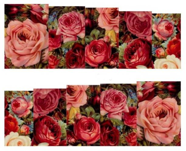 SENECIO™ Multicolor Rose Bunch Floral Full Wraps Nail Art Manicure Decals Water Transfer Stickers 1 Sheet