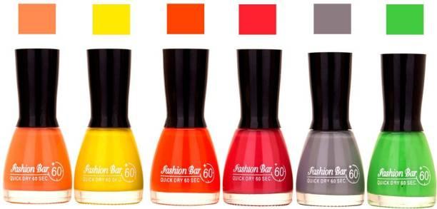 Fashion Bar Long Stay Pack of 6 Unique Nail Polish Combo 327 Peach,yellow,orange,Pink,Gray,Green