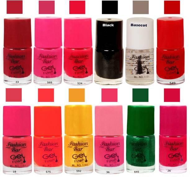 Fashion Bar Neon Pink Nail Polish Combo Pack of 12 Pink