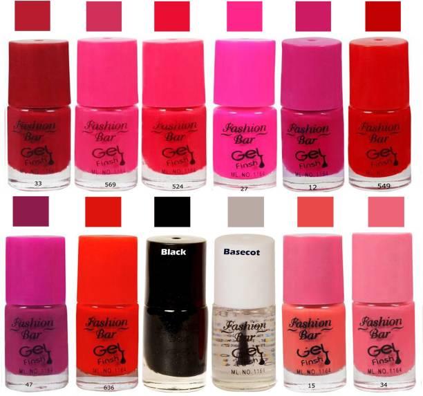 Fashion Bar Maroon Color Nail Polish Combo Pack of 12 Maroon