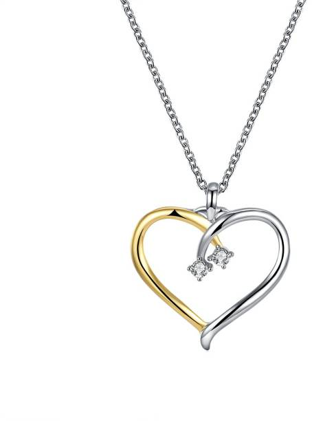1290eefc34 Yellow Chimes Joining Hearts Swarovski Crystal Rhodium Plated Metal Chain