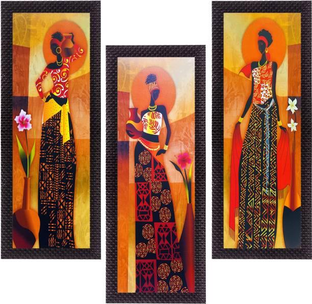3fcf7d21817 eCraftIndia Set Of 3 Tribal Village Ladies Satin Matt Textured Canvas 16  inch x 21 inch
