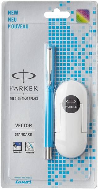 PARKER Vector Standard Chrome Trim Fine with 3 Ink Cart Fountain Pen