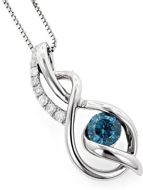 2ba6a3023 RM Jewellers 92.5 Lovely Platinum Cubic Zirconia, Topaz Silver Pendant