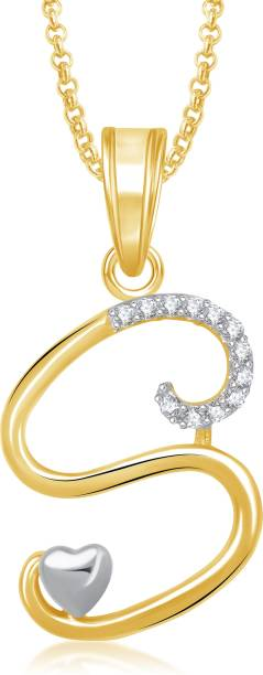 db8ce0a257838 Meenaz Meenaz Fashion Jewellery Silver Gold Plated  S  Letter Pendants For  Girls with chain