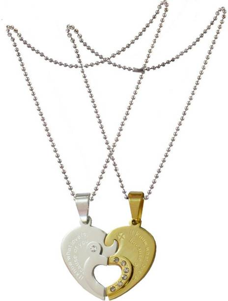 """Shiv Jagdamba Couple his and her"""" I Love you"""" And Key Combined Heart for Valentine's Day Gift (2 pieces - his and her) SPN011096 Stainless Steel Pendant Set"""