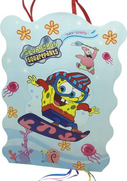 FUNCART Spongy bob square pants paper pinata khoi bag Pull String Pinata (Multicolor, Pack of 1) Pull String Pinata