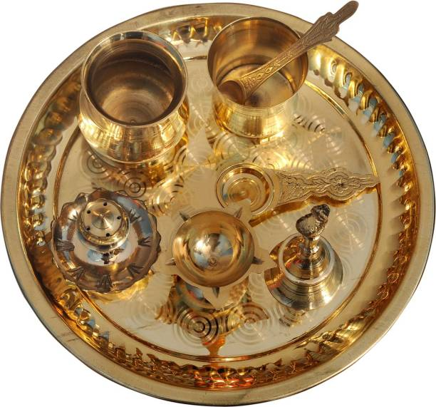 Putrika Traditional Handcrafted Brass Thali/Aarti Bartan Plate for Pooja/Worship Brass