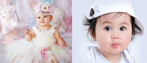 Baby Poster Cute Smiling New Born Kid Infant Child Wall Decor – 2 Pcs Combo Photographic Paper